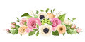 Pink, orange and white roses, lisianthuses, anemone flowers and green leaves. Vector illustration. Royalty Free Stock Photo