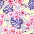 Pink orchid flowers with outlines and large purple monstera leaves on light yellow background. Seamless pattern.
