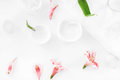 Pink orchid flowers with petals and organic cream in containers Royalty Free Stock Photo