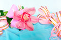 Pink orchid with gift wrappings Royalty Free Stock Photo