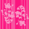 Pink orchids pattern seamless retro with and stripes over hand drawn illustration of a new shabby chic motif with flowers Stock Photography