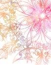 Pink ornament Mandala and fractal color effect.