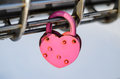 Pink Padlock in the shape of heart Royalty Free Stock Photo