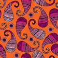 Pink paisley on orange background seamless pattern Stock Photo