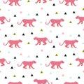 Pink panther animal seamless vector pattern.