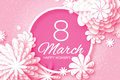 Pink Paper Cut Flower. 8 March. Origami Women`s Day. Circle Frame. Space for text