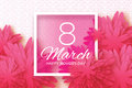Pink Paper flower. Women`s Day. 8 March. Square