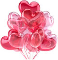 Pink party balloons in form as hearts Royalty Free Stock Photo