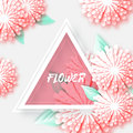 Pink Pastel Origami Floral Greeting card. Royalty Free Stock Photo