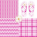 Pink Pattern Pack Chevron Daisy Flip Flops Dots Royalty Free Stock Photo