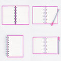 Pink Pen on Face purple notebook for background and text Royalty Free Stock Photo