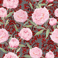 Pink peony flowers. Seamless floral pattern, ornate eastern decor. Watercolor