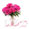Pink peony flowers vase letters love isolated white Stock Photo