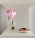 Pink peony in a vase and jewelry dish Royalty Free Stock Photos