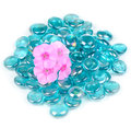 Pink Phlox Flowers with Blue Glass Stones Isolated on White Background Royalty Free Stock Photo