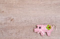 Pink pig as lucky charm with green shamrock Stock Photo
