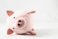 The pink pig cloth figurine on a white background Stock Image