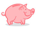 Pink pig illustration of a piggy bank Stock Photography