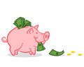 Pink pig and money illustration of a piggy bank with Royalty Free Stock Photos