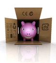 Pink pig and pork meat transportation concept illustration Royalty Free Stock Photos