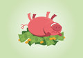 Pink pig rolling in money Royalty Free Stock Photo