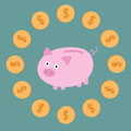 Pink piggy bank and dollar coins card vector illustration Royalty Free Stock Photo