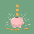 Pink piggy bank with falling coins. Saving money. Investments in future. Royalty Free Stock Photo