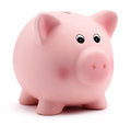 Pink piggy bank isolated on white background Royalty Free Stock Photo