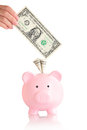 Pink piggy bank with money usa one dollar banknotes Stock Photos