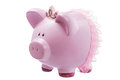Pink piggy bank princess isolated on white Royalty Free Stock Photo