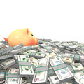 Pink piggy bank standing on a many dollars Royalty Free Stock Images