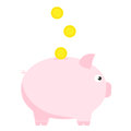 Pink piggy bank with three coins. Symbol of deposit and investment.