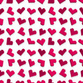 Pink pixel heart seamless background pattern Stock Photo