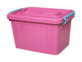 Pink plastic box isolated on white with clippingpath Royalty Free Stock Photo