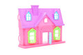 Pink plastic doll house with opened door Royalty Free Stock Photo