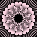 Pink plastic flower like fractal object on black background in concentric circle shapes, vector decoration with 3d effect Royalty Free Stock Photo