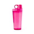 Pink plastic tumbler with cover isolated on white background Royalty Free Stock Photography