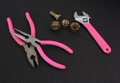 Pink plumber tools Royalty Free Stock Photos