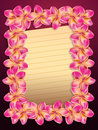 Pink plumeria frangipani flowers frame with yellow sheet of paper background Royalty Free Stock Photos