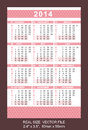 Pink pocket calendar start on monday vector vector size x mm x mm Royalty Free Stock Photos