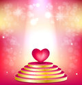 Pink podium floodlit and heart on shimmering backg background concept of valentines day Stock Photo