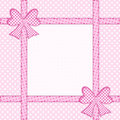 Pink polka dot background with gift bows and ribbons over baby white dots framed copy space Stock Photo