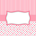 Pink polka dots and stripes invitation card square or tag with a frame for text or image Royalty Free Stock Images