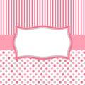 Pink polka dots and stripes invitation card