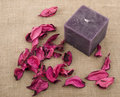 Pink potpourri and purple candle Royalty Free Stock Photos