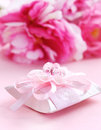 Pink present box with pacifier Royalty Free Stock Photos