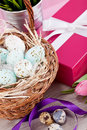 Pink present and colorful tulips festive easter decoration Stock Photo