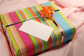 Pink present with tag Stock Image