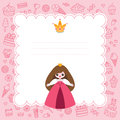 Pink princess card little template with blank space for text Royalty Free Stock Image