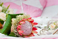 Pink protea bouquet flower wedding wide aperture used focus on Royalty Free Stock Photos